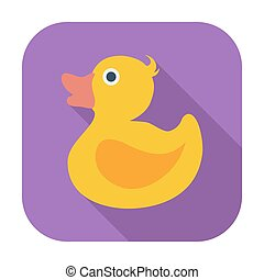 Duck flat icon - Duck Single flat color icon Vector...