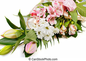 bouquet of pink lily flower on white