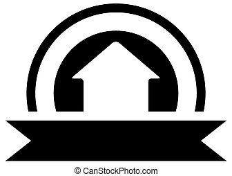 black real estate icon with cottage