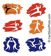Asian Martial Arts grunge icons - Simple Asian Martial Arts...