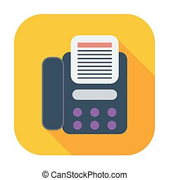 Fax icon Single flat color icon Vector illustration