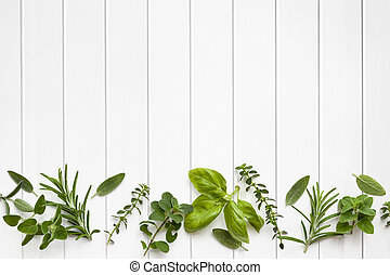 Fresh Herbs Border - Fresh herbs border over white timber...