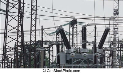 Power Sub Station - panorama of electric power substation