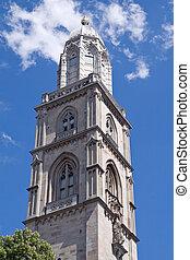 Grossmuenster tower (Zurich, Switzerland) - Famous...