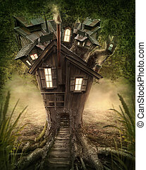 Fantasy tree house in forest