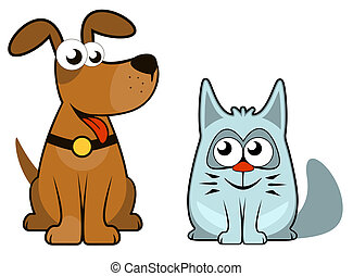 cartoon isolated dog and cat. sit and looking each other
