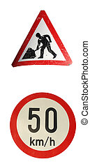Traffic signs isolated over a white background