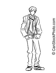 Fashionable guy - Young standing man in jacket and long...
