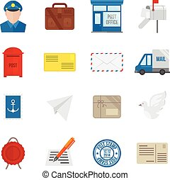 Post Service Icons Flat - Post service icon flat set with...