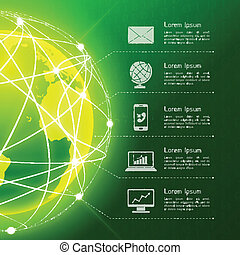 Network green background - Network globe green sphere earth...