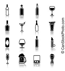 Alcohol icons black - Alcohol drinks bottles and glass icons...