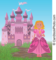 Beautiful princess and magic fairy tale castle