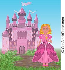 Beautiful princess and magic fairy tale castle