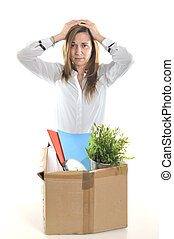 sad Business Woman carrying Cardboard Box fired from Job -...