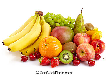 Fruits - Composition of various exotic fruits isolated on...