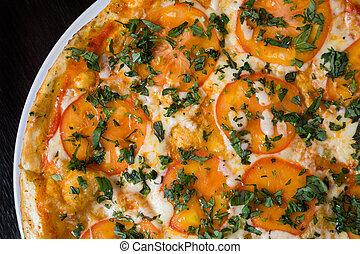 apetitoso, pizza, tomates