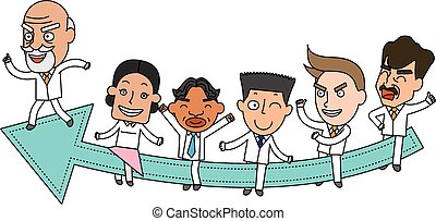 Funny line character illustration Business Story series