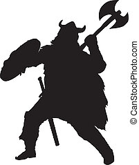 Viking. Warriors Theme - Fighting viking detailed vector...