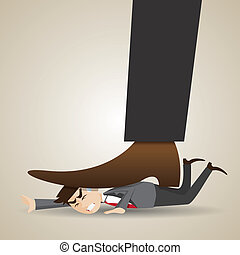 cartoon businessman stomped by boss - illustration of...