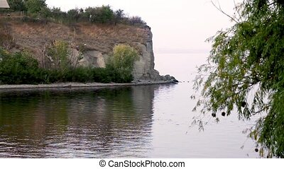 Steep coast of the river - the steep bank of the Volga River...