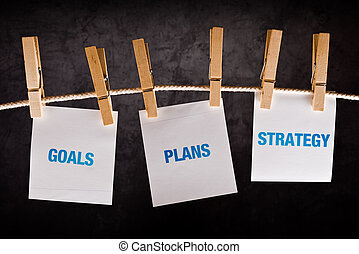 Goals, Plans and Strategy, business concept Printed notes...