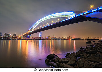 beautiful shanghai lupu bridge at night ,it is the worlds...
