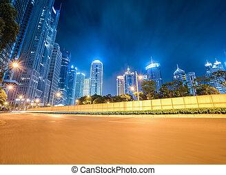 dinâmico, fundo, modernos, cidade, noturna