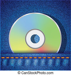 CD disc - colorful illustration with CD disc on a blue jeans...