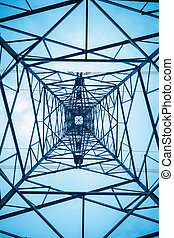 the structure of power transmission tower , upward view