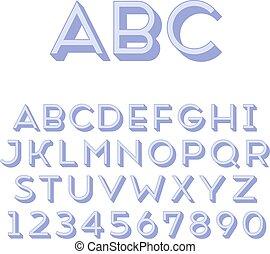 Handmade sans-serif font Regular 3d-extruded type Main glyph...