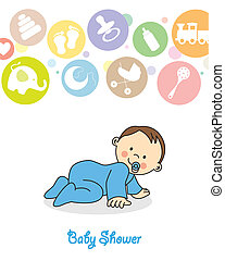 baby boy crawling - baby shower. baby boy crawling