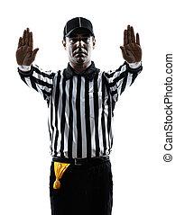 americano, futebol, árbitro, gestos, silueta