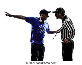 american football referee and coach conflict dispute...
