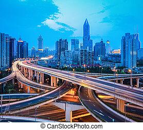 跨線橋, 夕闇, 交換, 都市