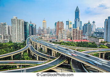 shanghai elevated road junction - vehicle motion blur on the...