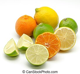 Assortment of citrus on white background
