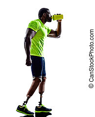 handicapped man joggers with legs prosthesis silhouette -...