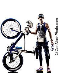 man triathlon iron man athlete equipment - man triathlon...