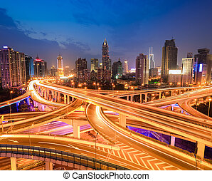 interchange overpass at night - complicated city interchange...