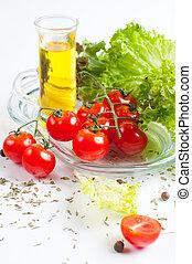 Vegetarian food, fresh vegetables and herbs