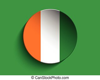 Flag Paper Circle Shadow Button Ireland