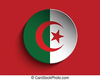 Flag Paper Circle Shadow Button Algeria