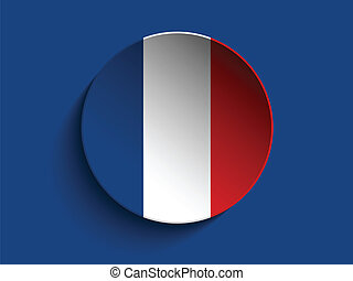Flag Paper Circle Shadow Button France