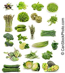 Collage vertical vegetable food assortment on white...