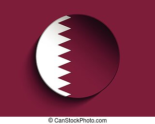 Flag Paper Circle Shadow Button Qatar - Vector - Flag Paper...