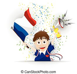 France Soccer Fan Flag Cartoon - Vector - France Soccer Fan...