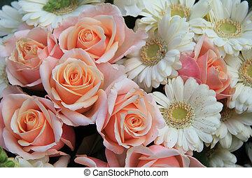 rosas, gerberas, boda, flores
