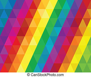 Retro Rainbow Triangles Background Spectrum Vector...