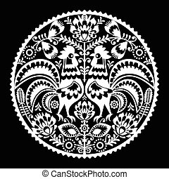 Polish folk art embroidery pattern - Folk art white pattern...