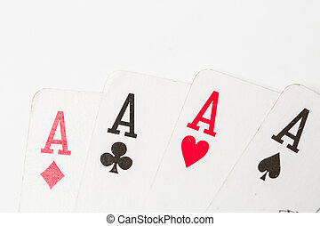 Poker of aces over isolated on  white backgorund